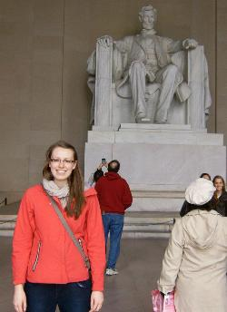 Meagan White at Lincoln Memorial